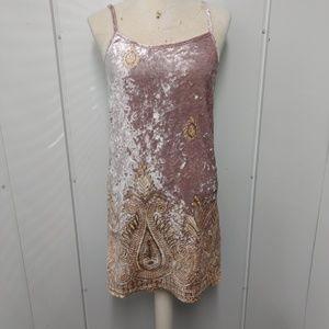 Free People Crushed Velvet Dress SZ XS Pink